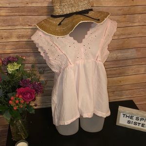 GAP BABY PINK EMBROIDERED BLOUSE